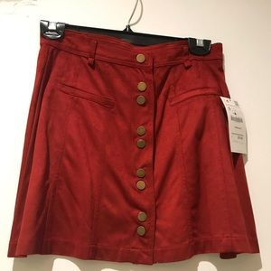 Zara Suede Snap Front Mini skirt